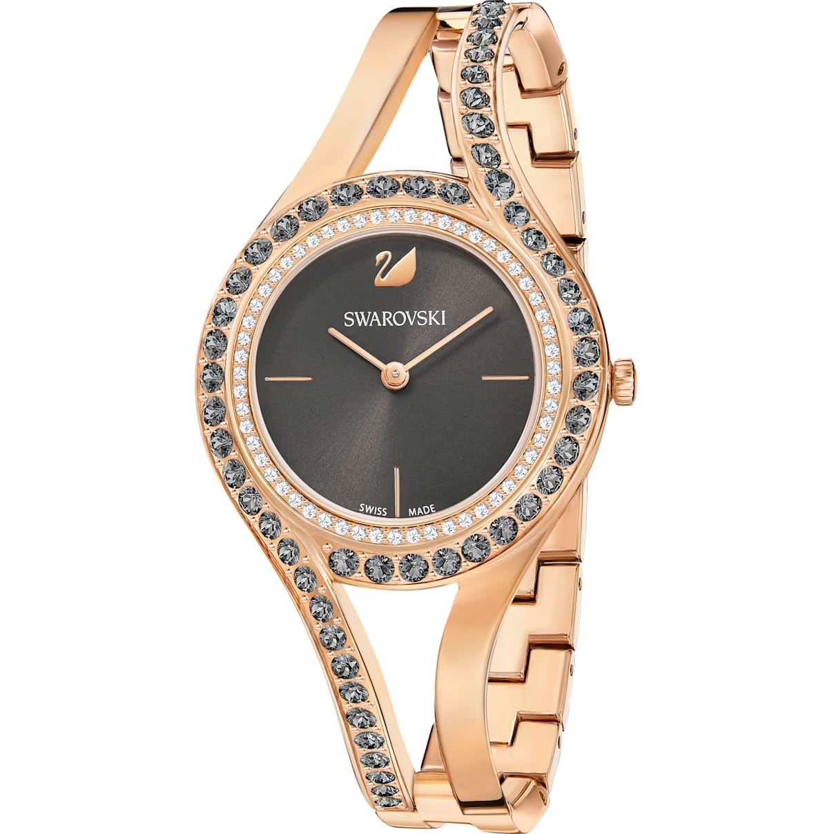 Swarovski Eternal Watch, Metal bracelet, Dark gray, Rose-gold tone PVD