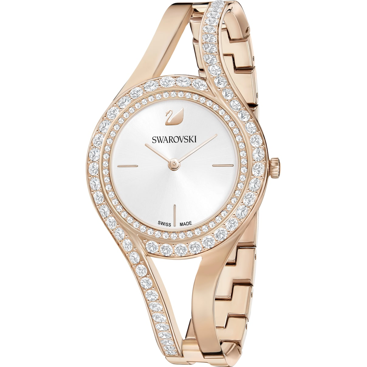 Swarovski Eternal Watch, Metal bracelet, White, Champagne-gold tone PVD