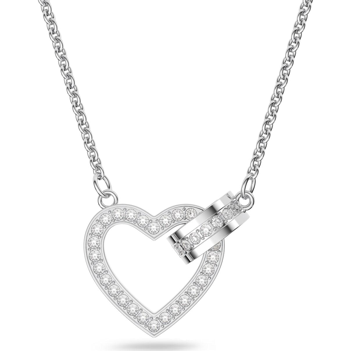 Swarovski Lovely Necklace, White, Rhodium plated