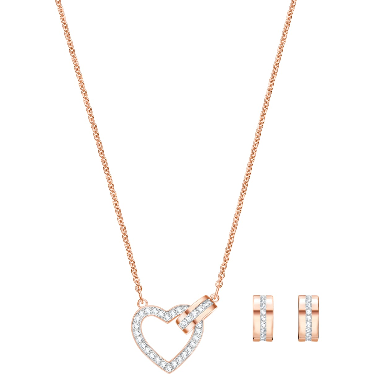 Swarovski Lovely Set, White, Rose-gold tone plated