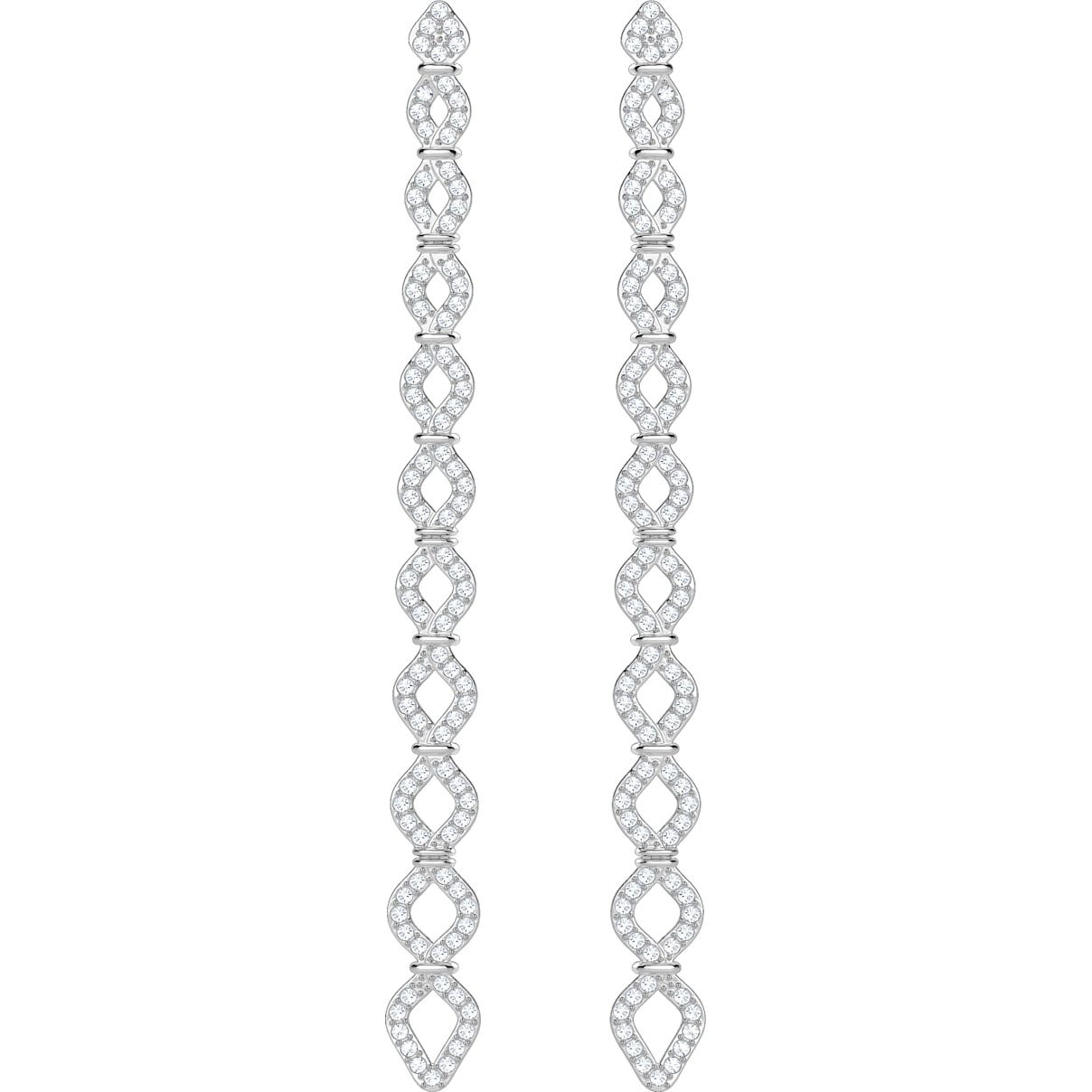 Swarovski Lace Pierced Earrings, White, Rhodium plated