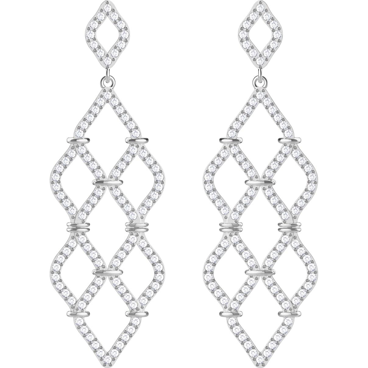 Swarovski Lace Chandelier Pierced Earrings, White, Rhodium plated