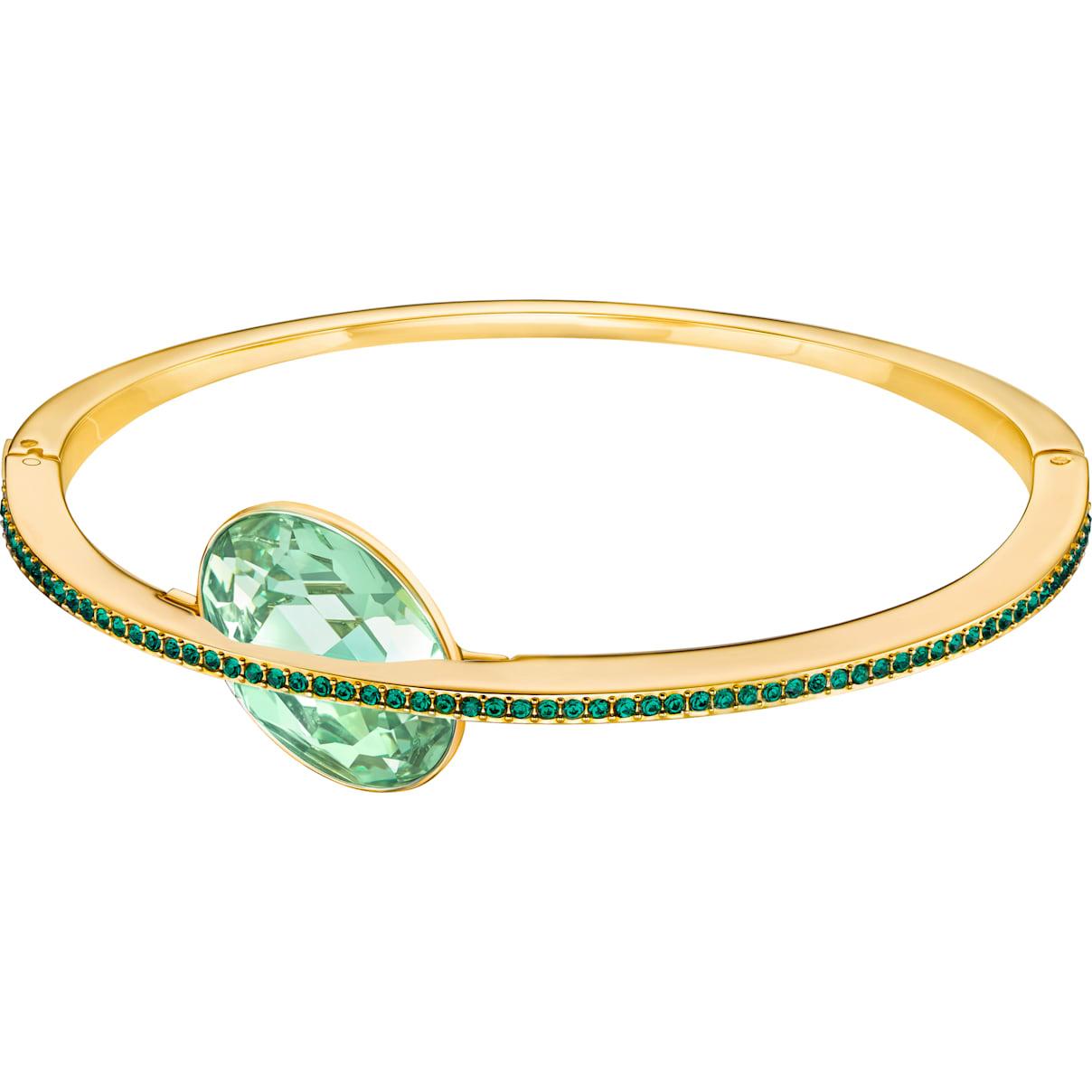 Swarovski Land of Hope Bangle, Green, Gold-tone plated