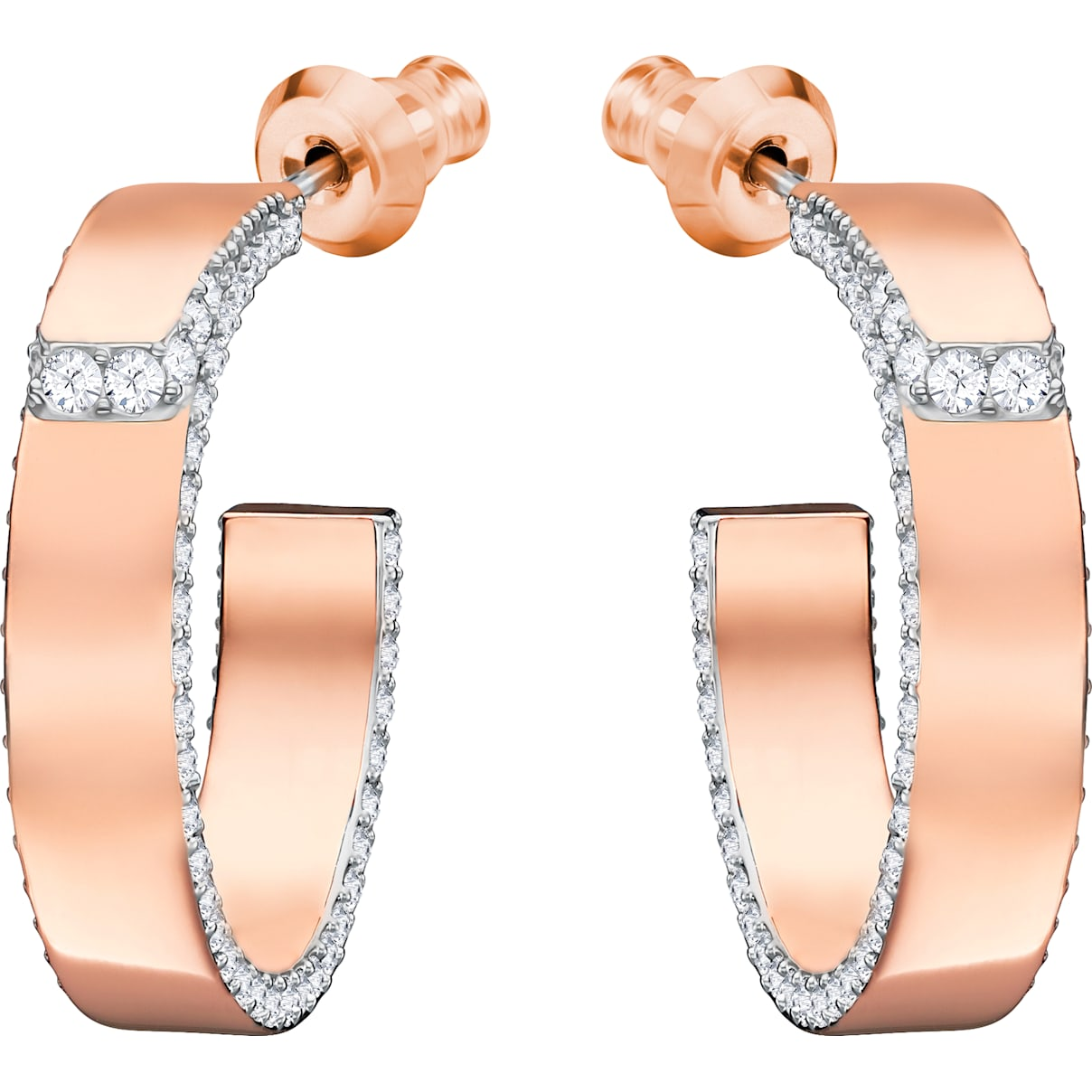 Swarovski Lakeside Pierced Earrings, White, Rose-gold tone plated