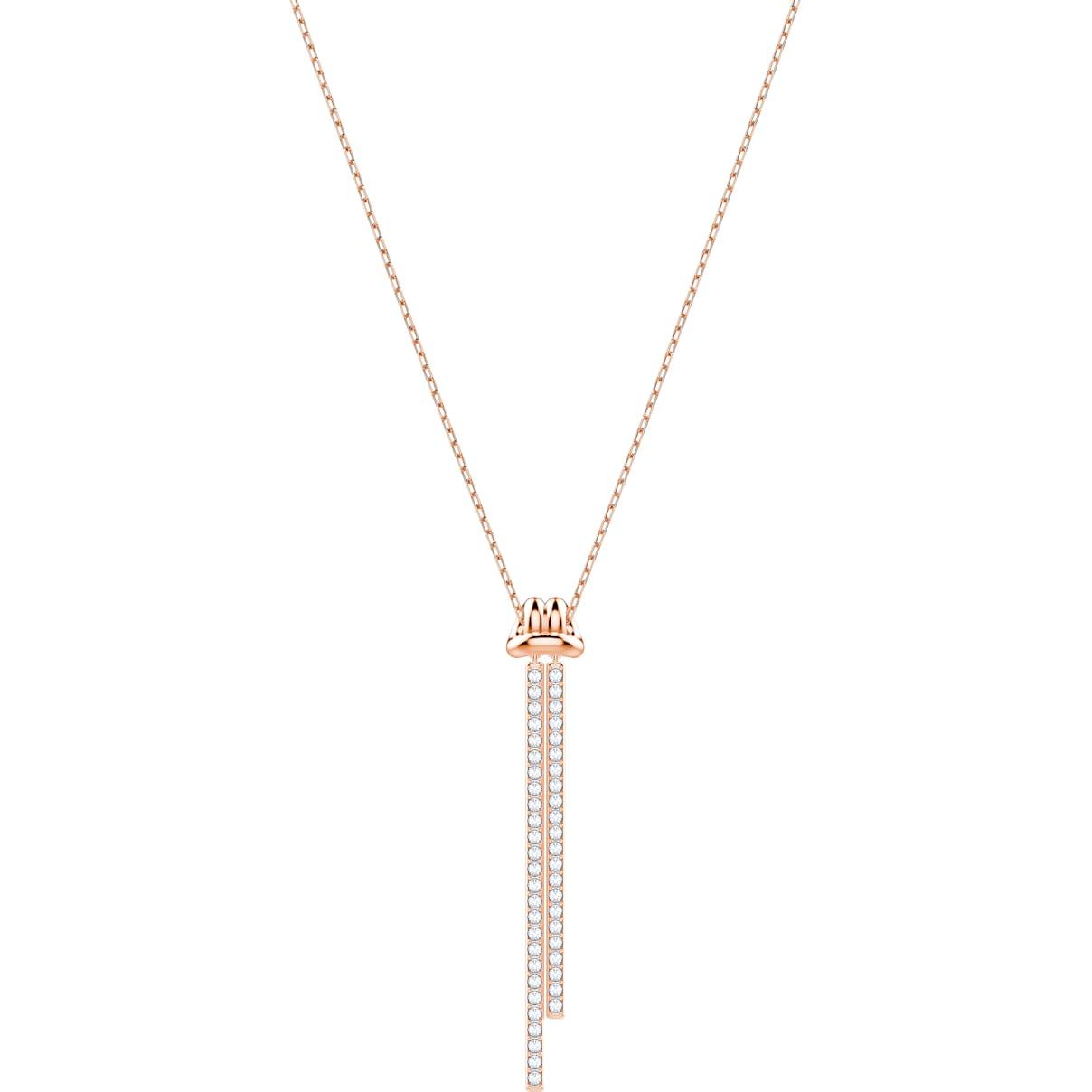 Swarovski Lifelong Y Pendant, White, Rose-gold tone plated