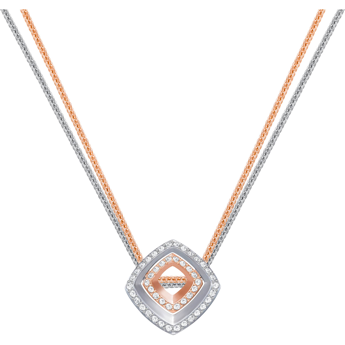 Swarovski Lovesome Square Pendant, White, Mixed plating