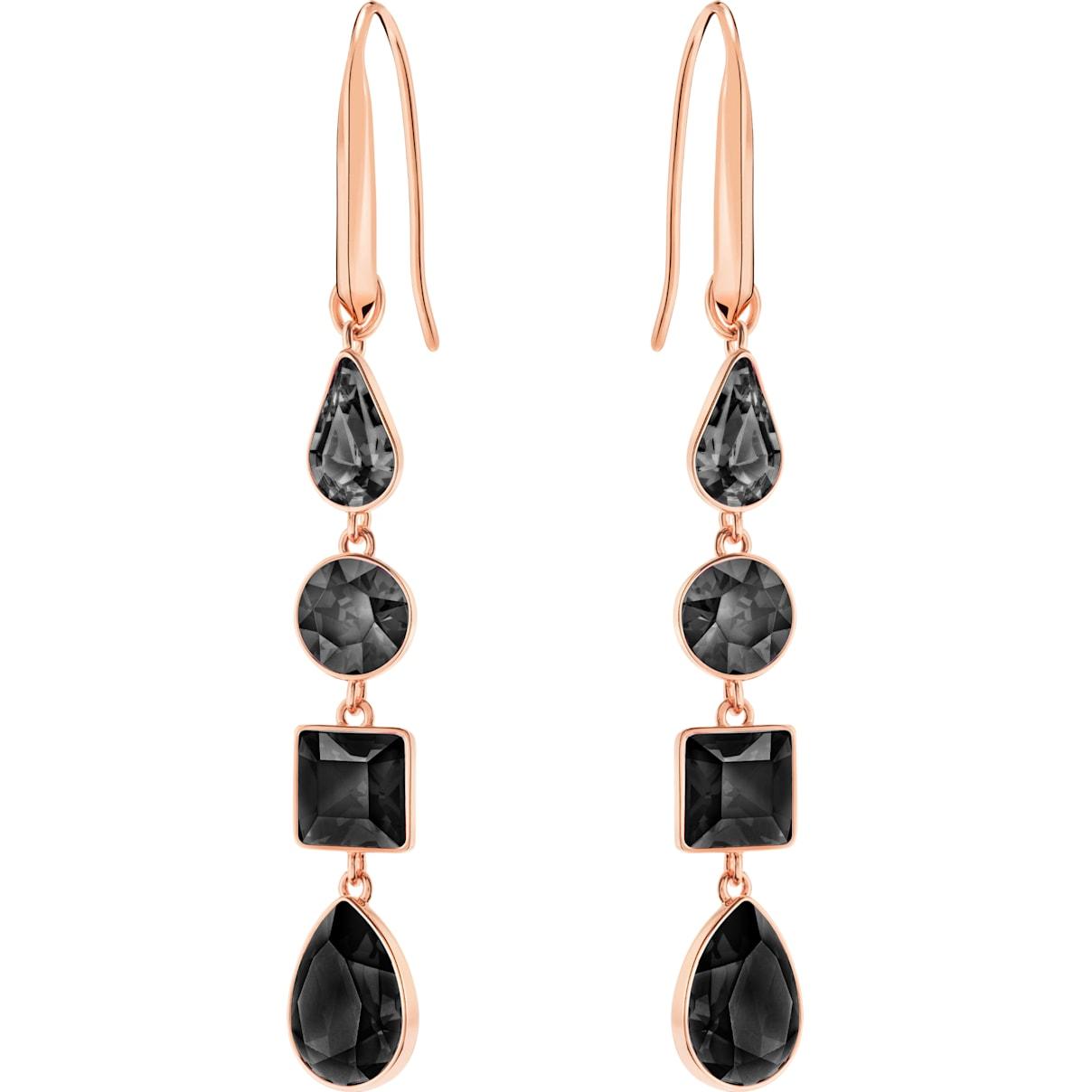 Swarovski Lisanne Pierced Earrings, Black, Rose-gold tone plated