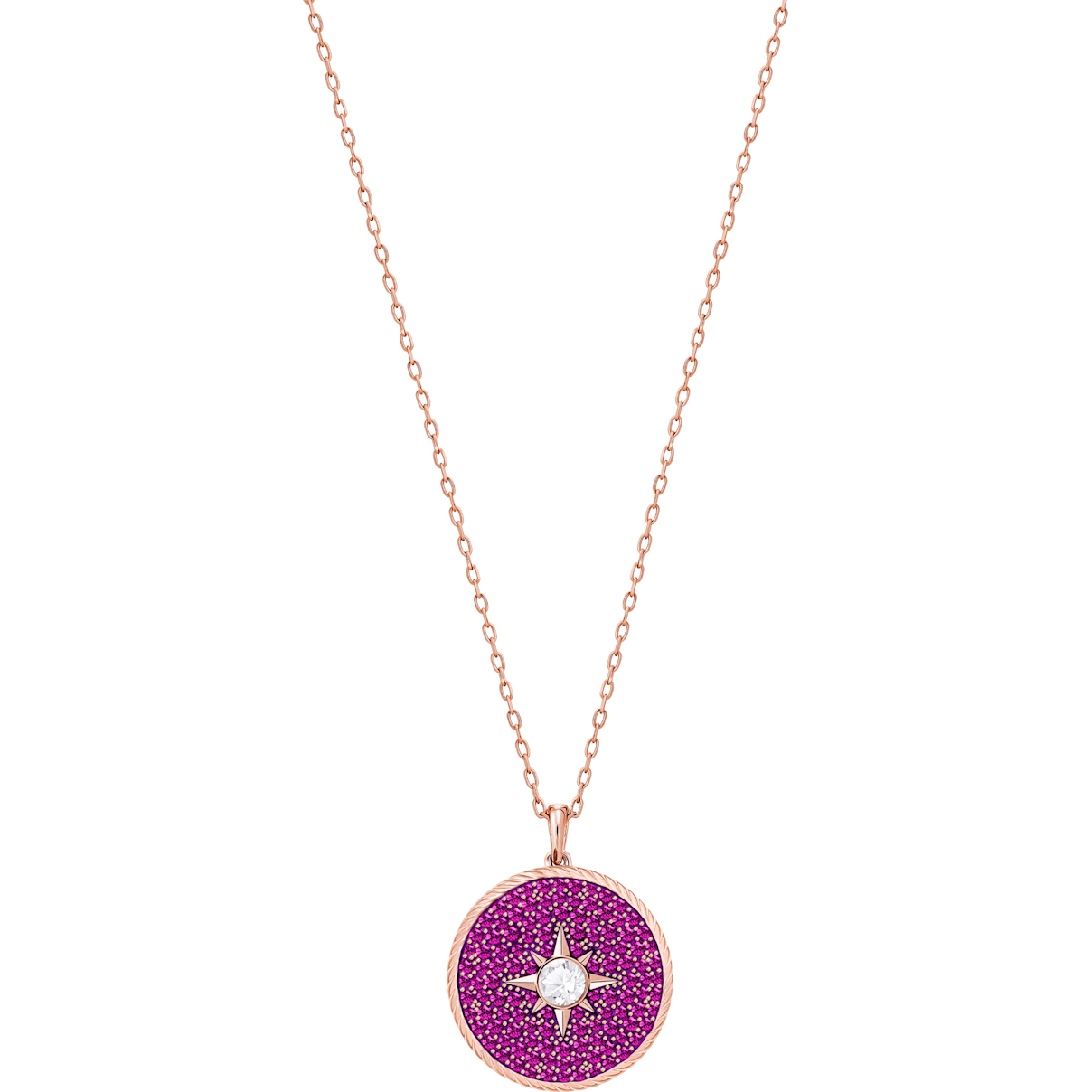 Swarovski Locket Pendant, Pink, Rose-gold tone plated