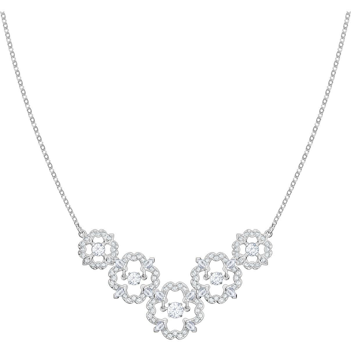 Swarovski Sparkling Dance Flower Necklace, White, Rhodium plated