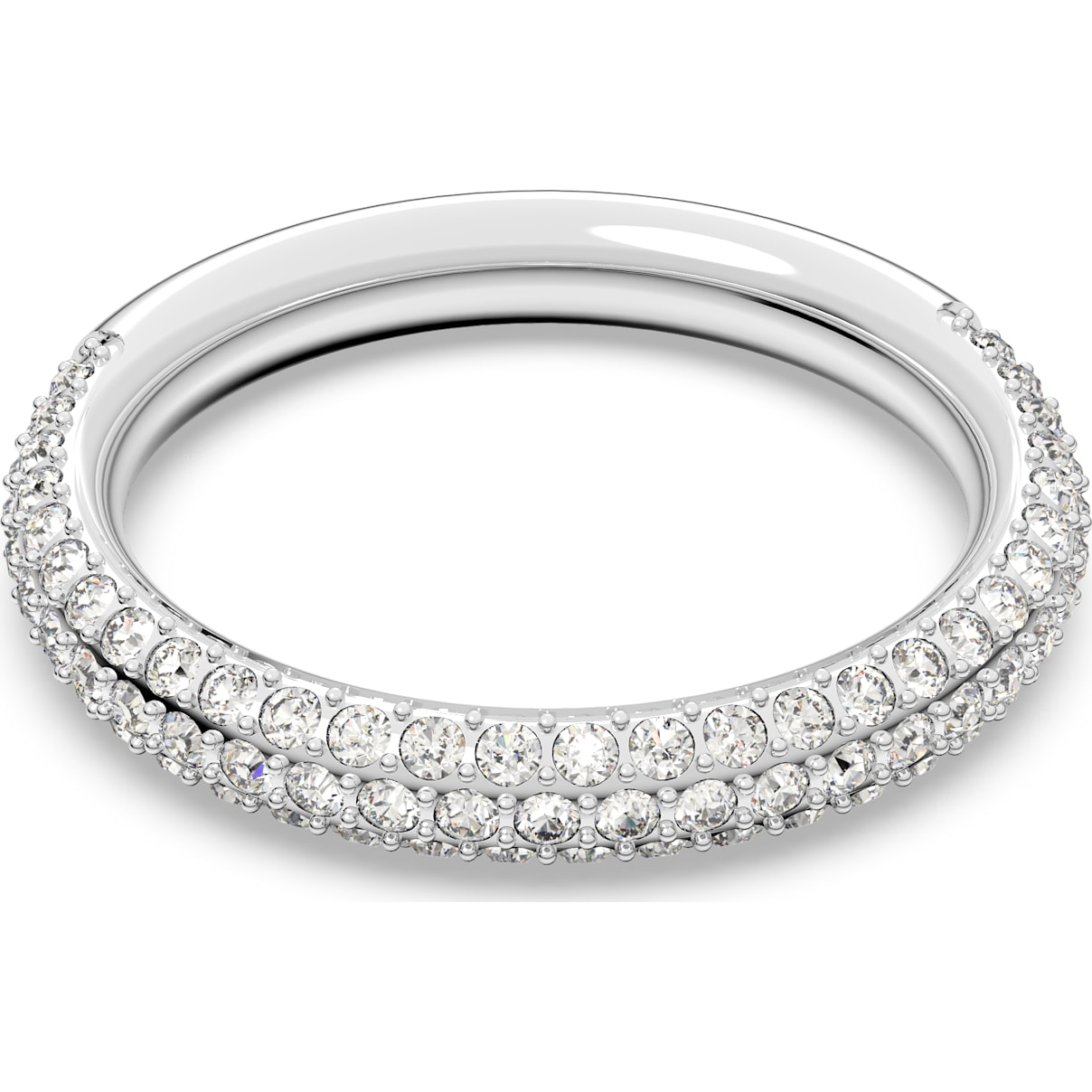 Swarovski Stone Ring, White, Rhodium plated