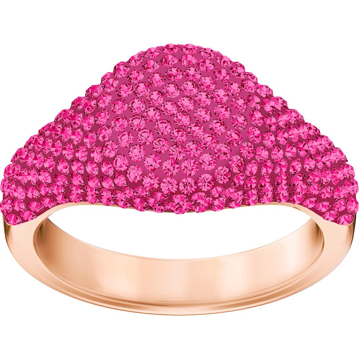 Swarovski Stone Signet Ring, Pink, Rose-gold tone plated