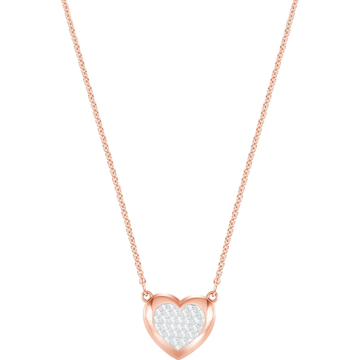Swarovski Hall Heart Pendant, White, Rose-gold tone plated