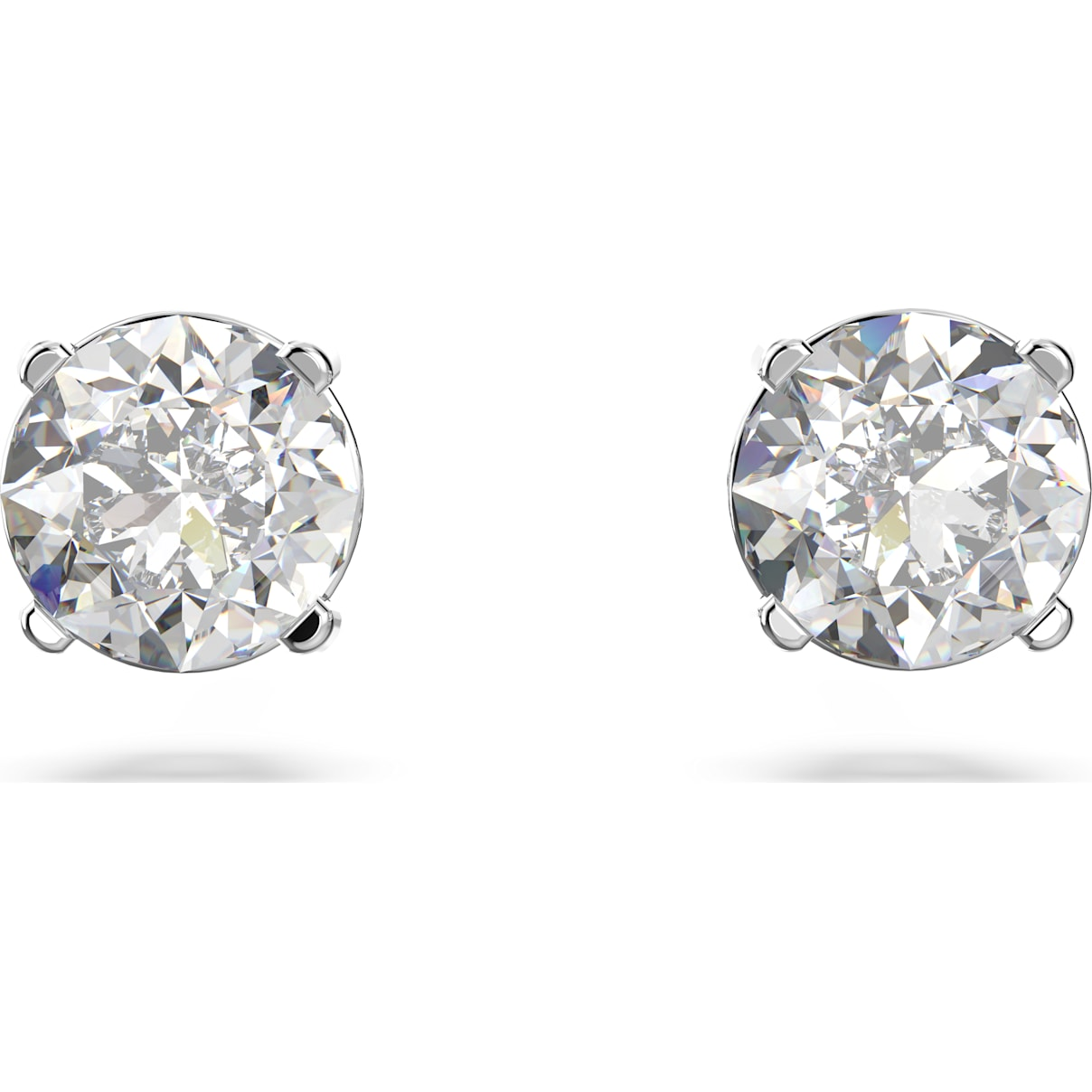 Swarovski Attract Round Pierced Earrings, White, Rhodium plated