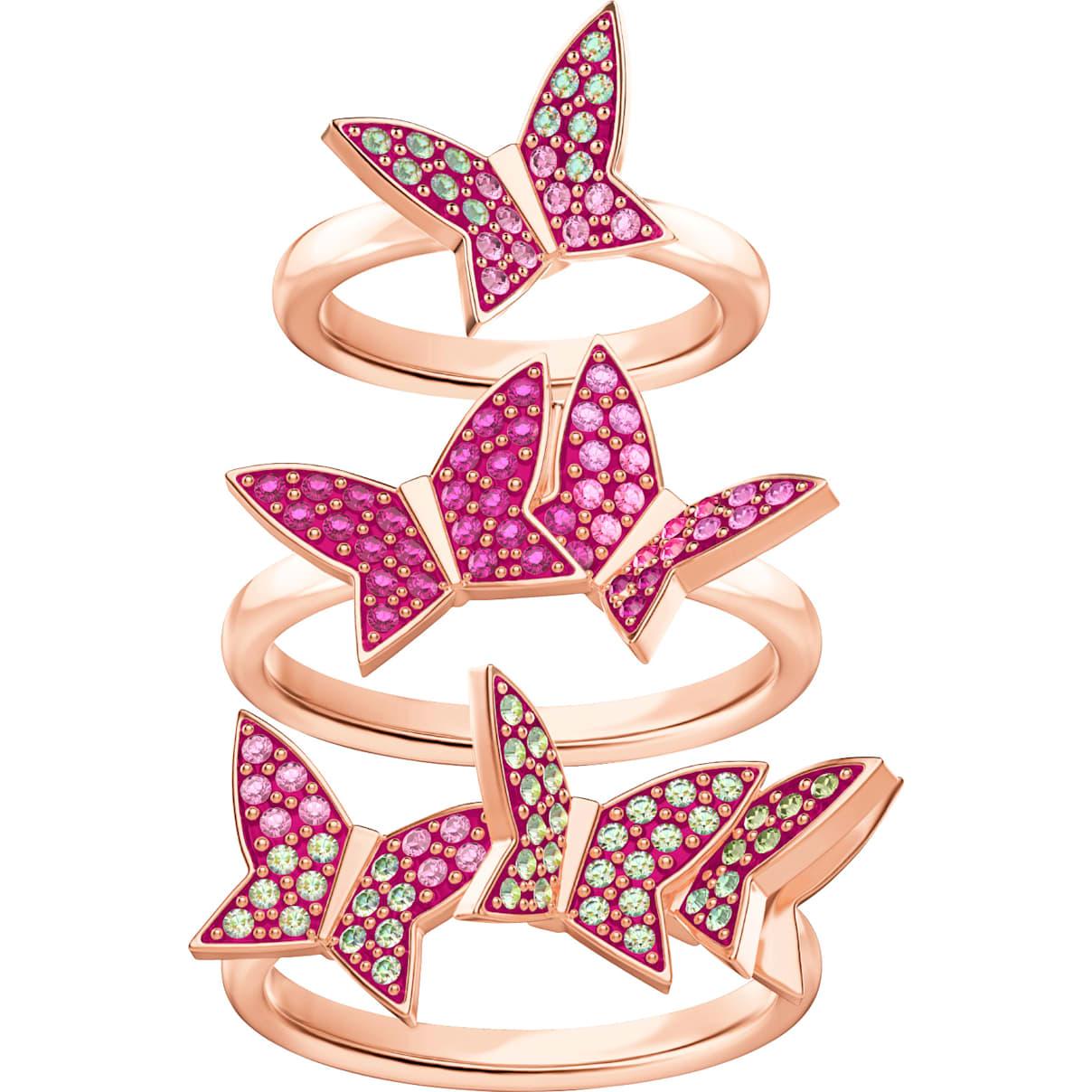 Swarovski Lilia Ring Set, Multi-colored, Rose-gold tone plated