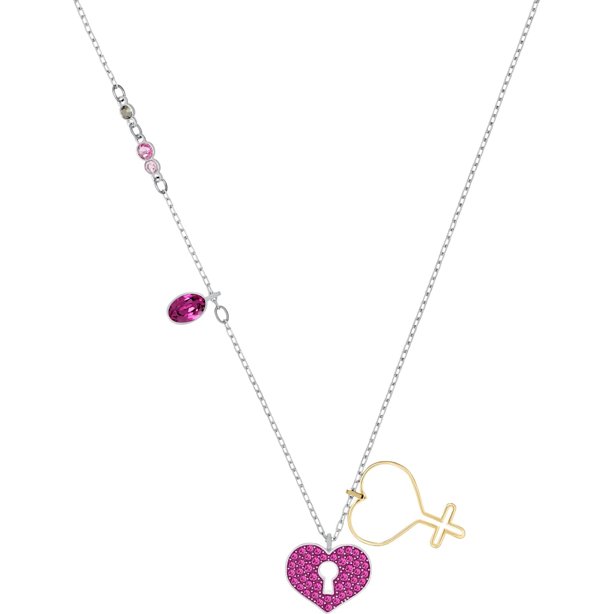 Swarovski Mine Heart Necklace, Multi-colored, Mixed metal finish