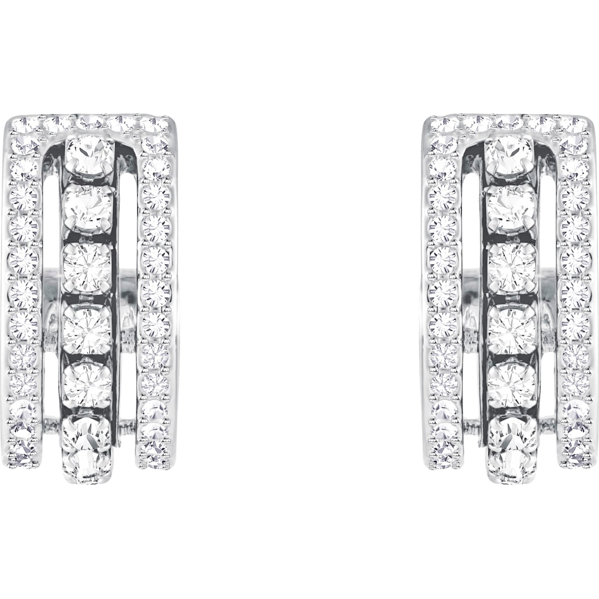 Swarovski Further Pierced Earrings, White, Rhodium plated
