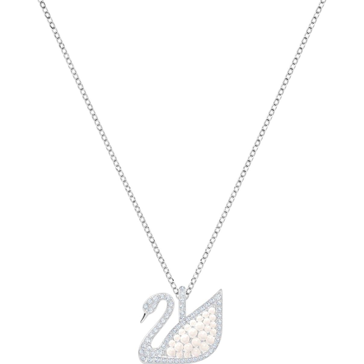Swarovski Swarovski Iconic Swan Pendant, White, Rhodium plated