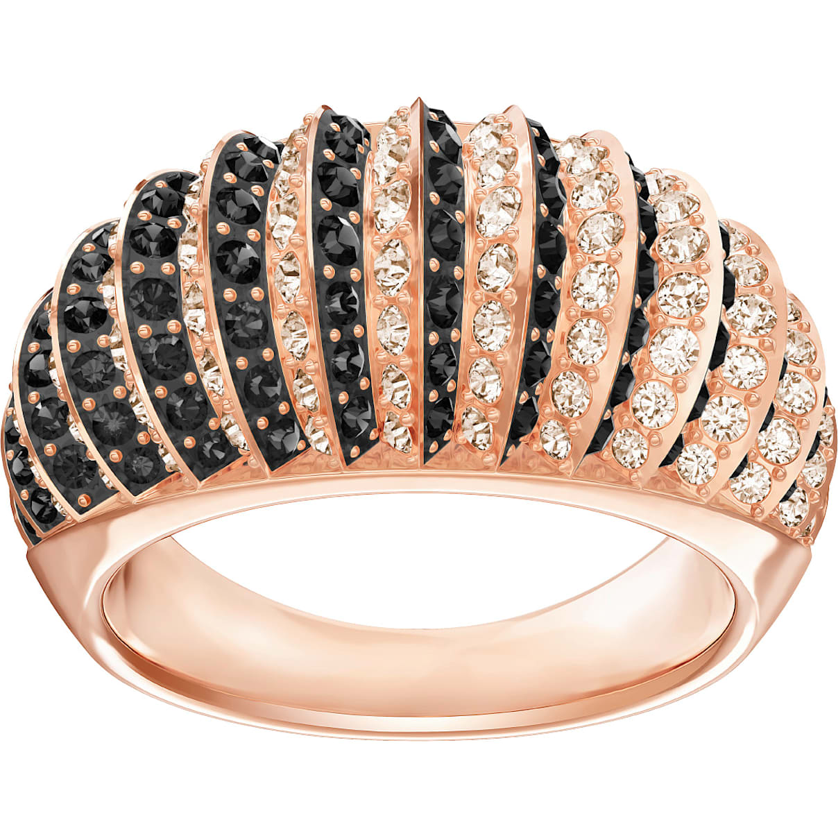 Swarovski Luxury Domed Ring, Black, Rose-gold tone plated
