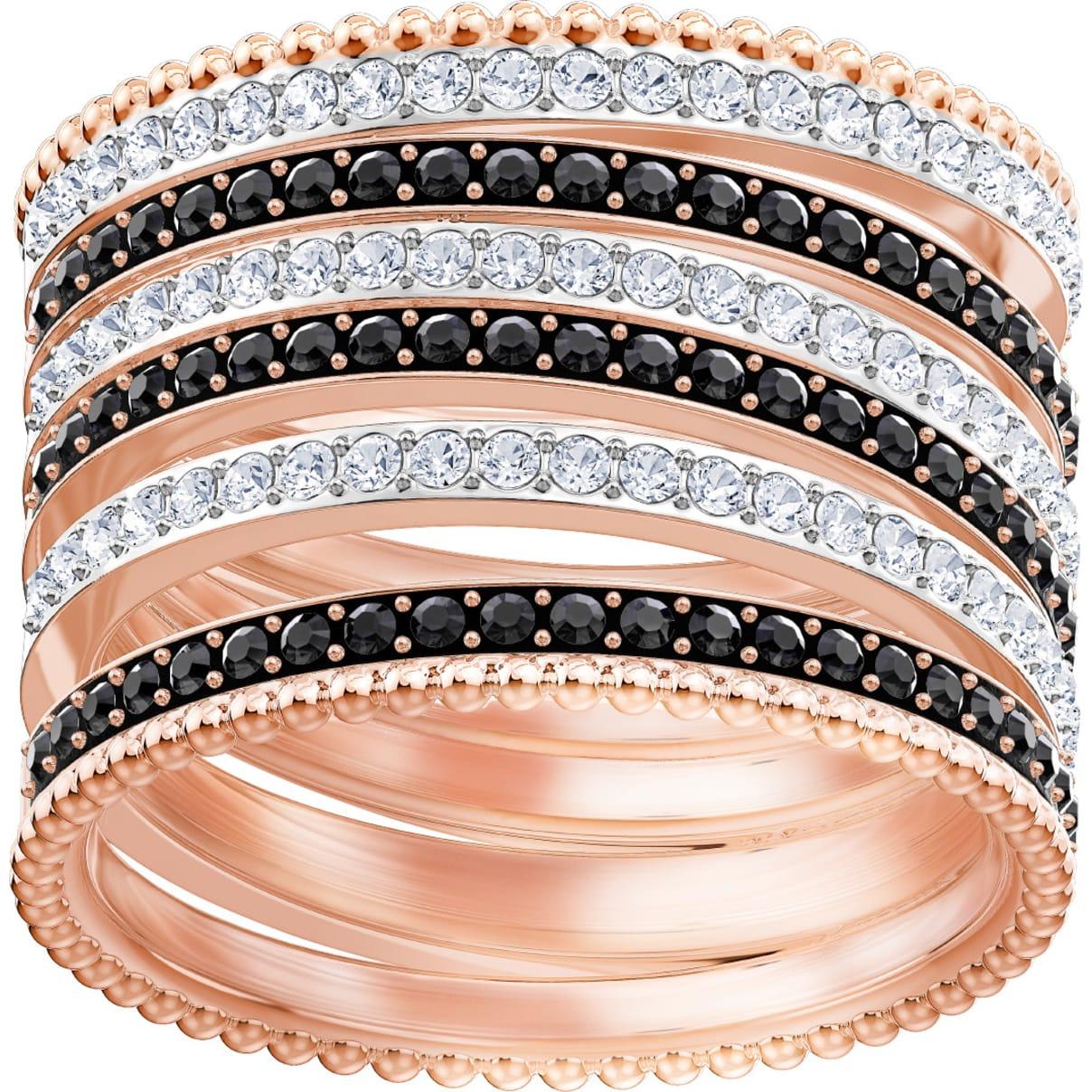 Swarovski Lollypop Ring, Black, Rose-gold tone plated