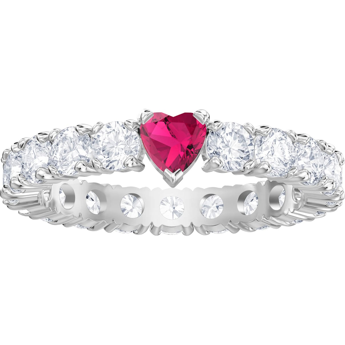 Swarovski Love Ring, White, Rhodium plated