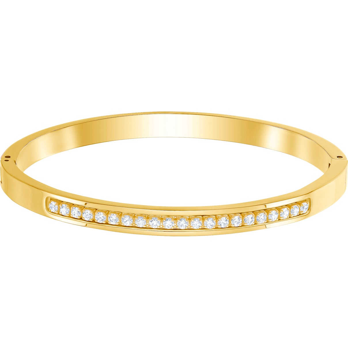 Swarovski Further Thin Bangle, White, Gold-tone plated