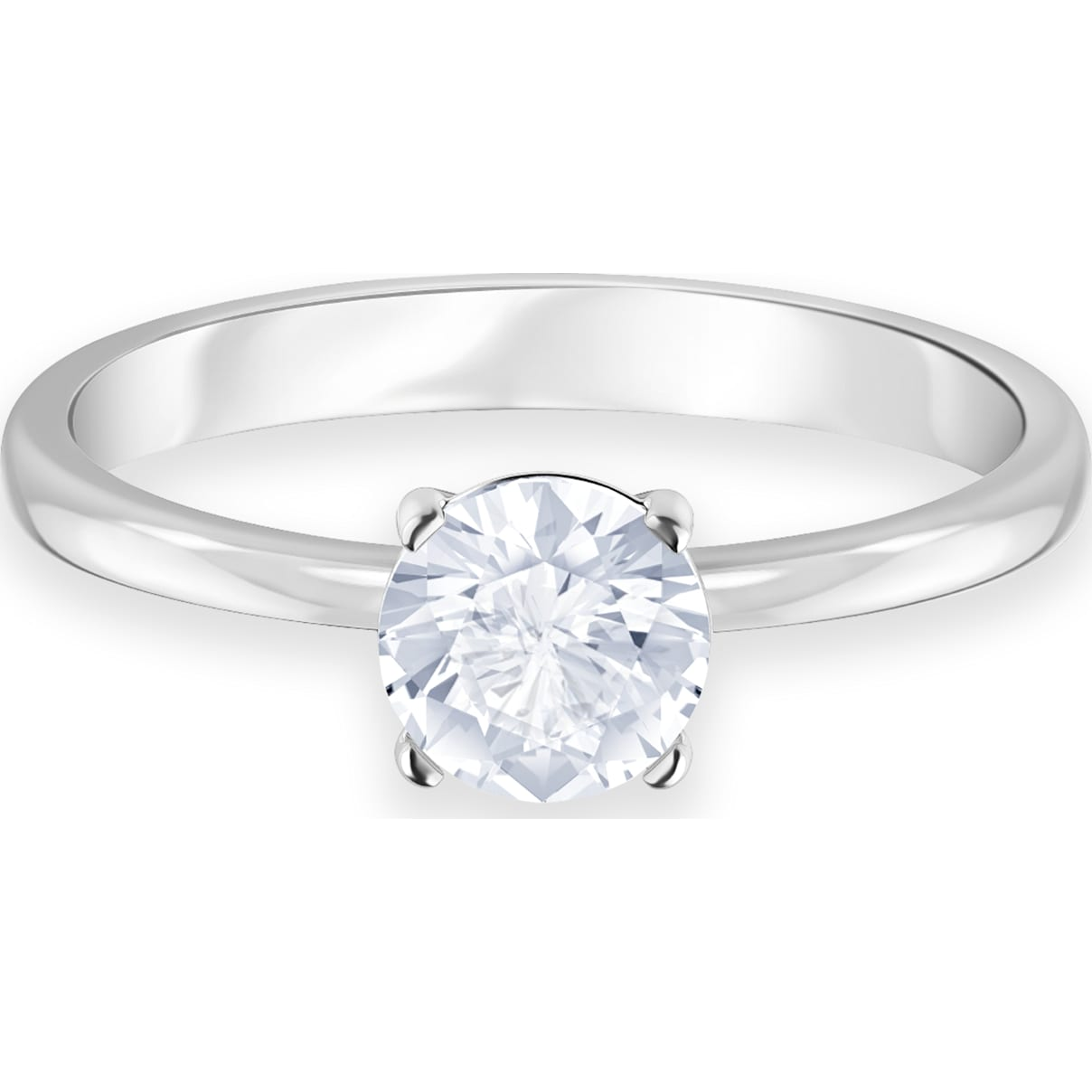 Swarovski Attract Ring, White, Rhodium plated