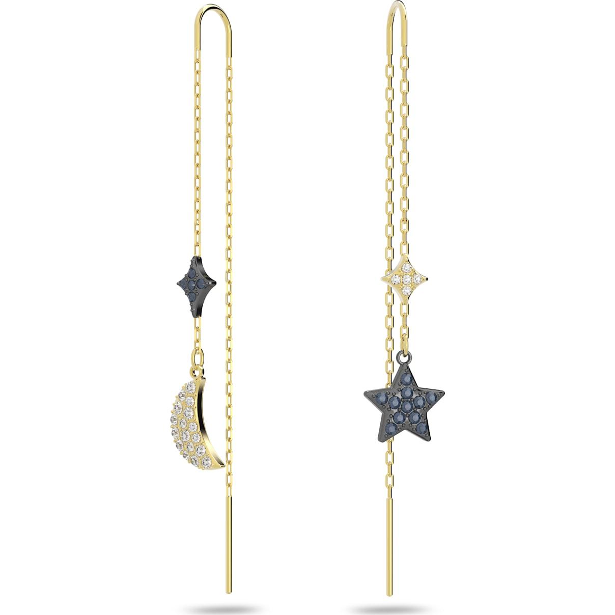 Swarovski Swarovski Symbolic Moon Pierced Earrings, Teal, Mixed metal finish