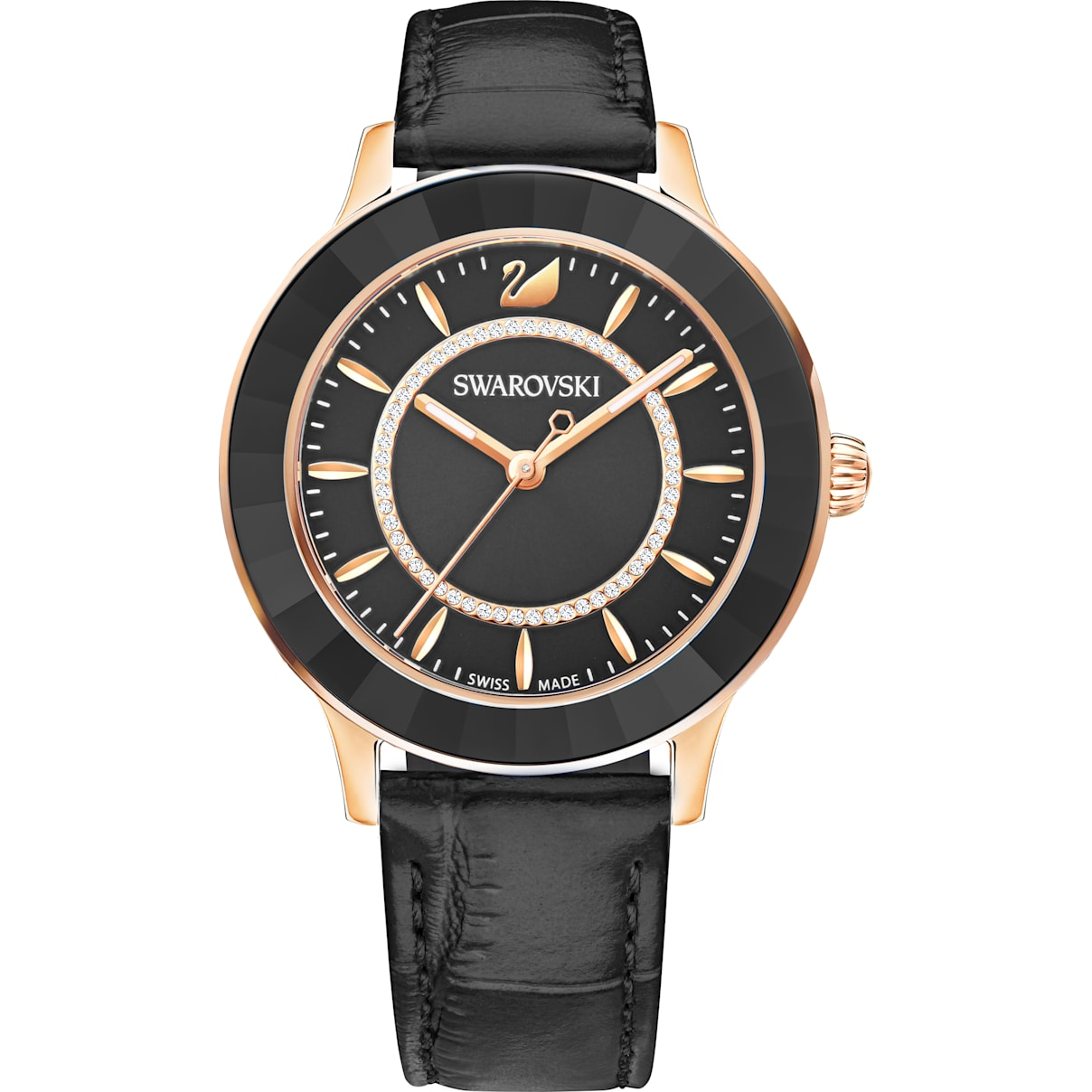 Swarovski Octea Lux Watch, Leather strap, Black, Rose-gold tone PVD