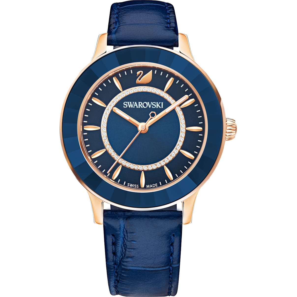 Swarovski Octea Lux Watch, Leather strap, Blue, Rose-gold tone PVD