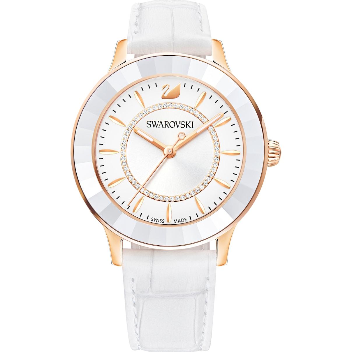 Swarovski Octea Lux Watch, Leather strap, White, Rose-gold tone PVD