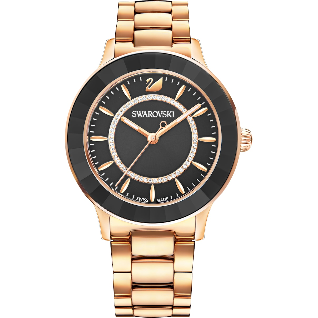 Swarovski Octea Lux Watch, Metal bracelet, Black, Rose-gold tone PVD