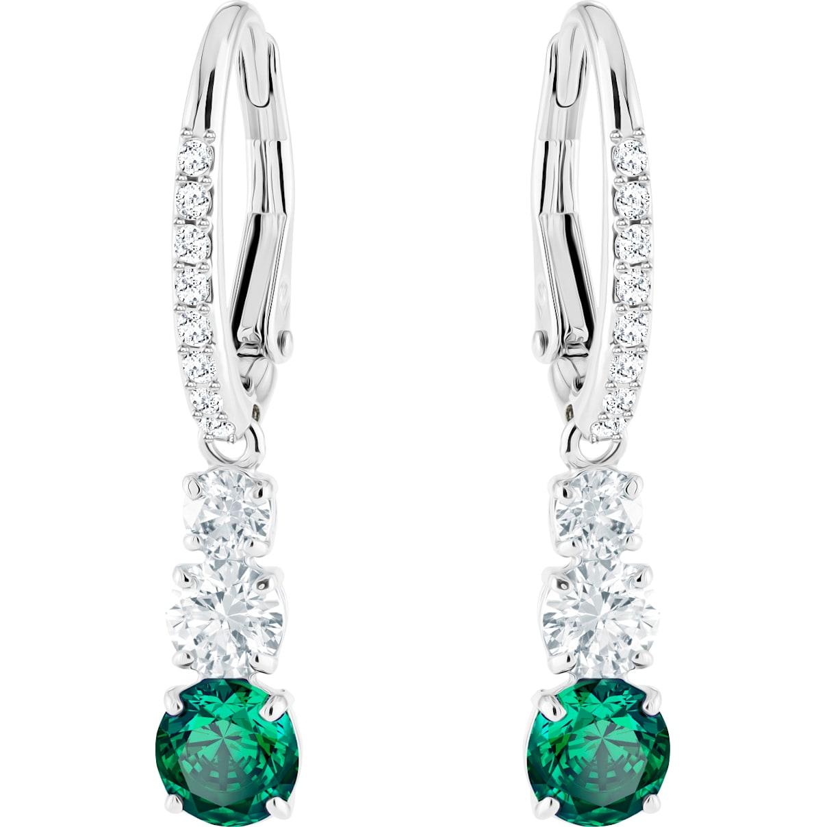 Swarovski Attract Trilogy Round Pierced Earrings, Green, Rhodium plated