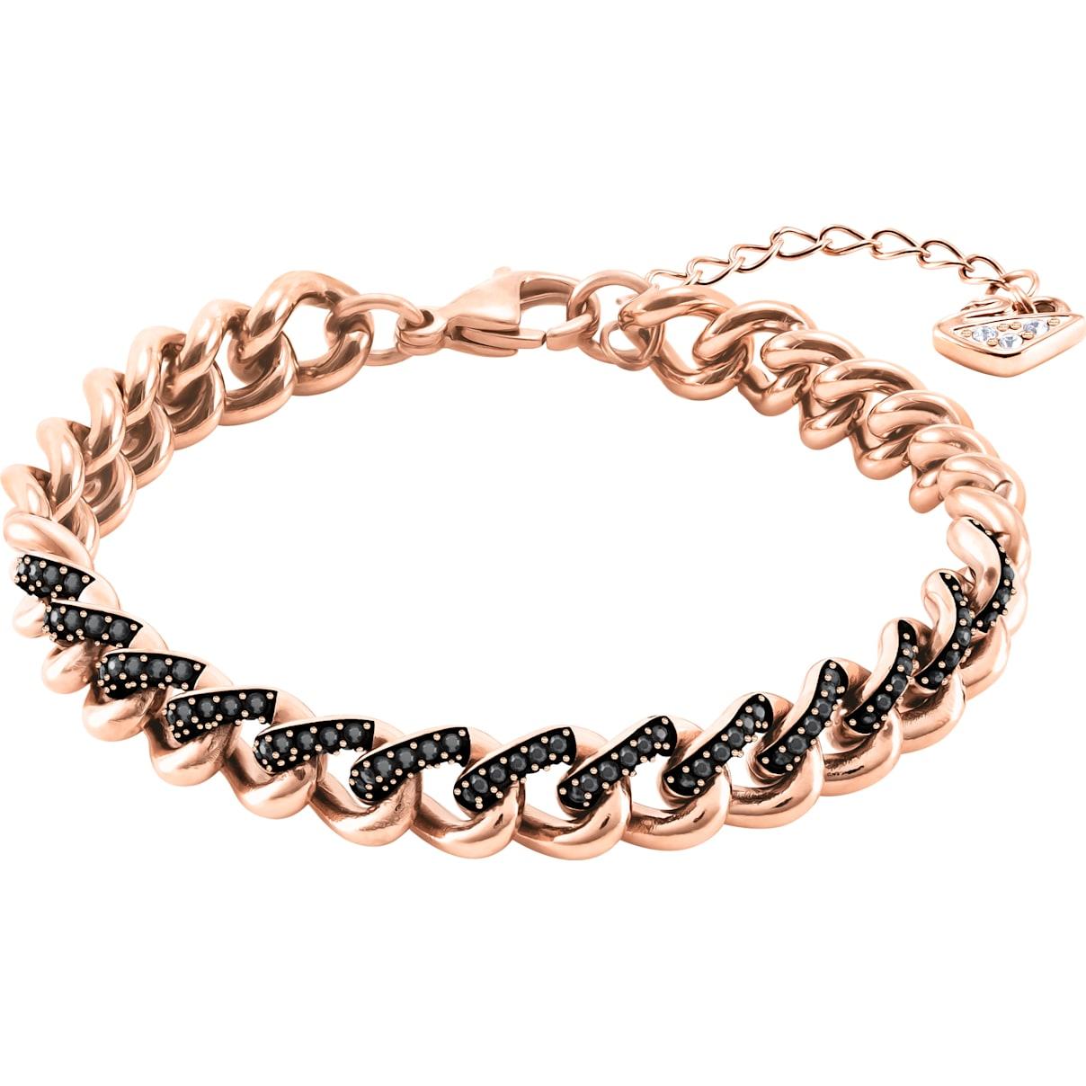 Swarovski Lane Bracelet, Black, Rose-gold tone plated