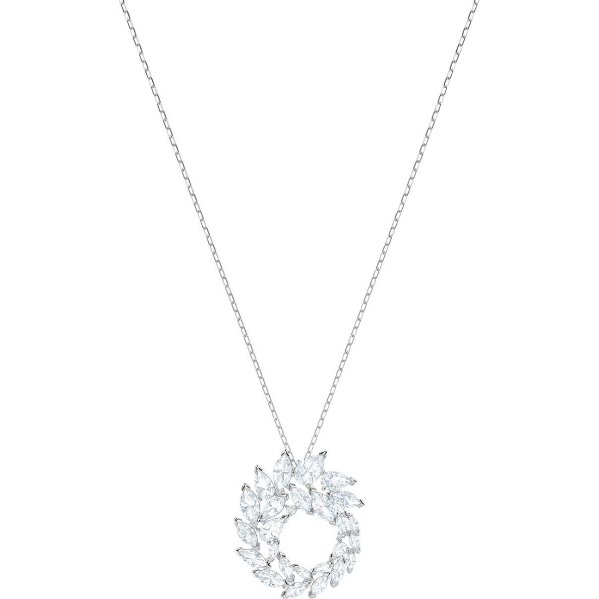 Swarovski Louison Pendant, White, Rhodium plated