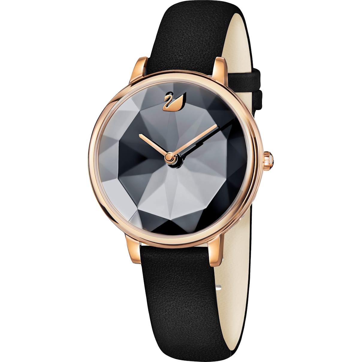 Swarovski Crystal Lake Watch, Leather strap, Black, Rose-gold tone PVD