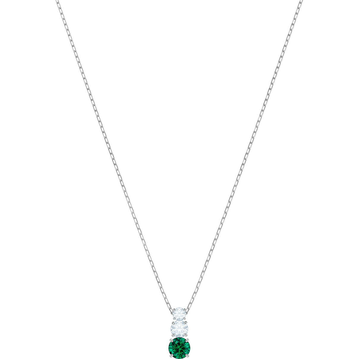 Swarovski Attract Trilogy Round Pendant, Green, Rhodium plated