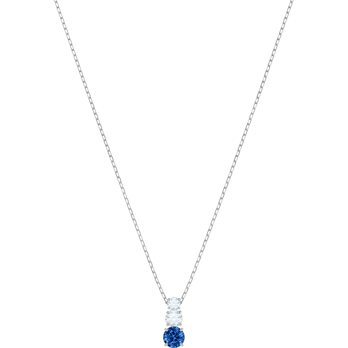 Swarovski Attract Trilogy Round Pendant, Blue, Rhodium plated
