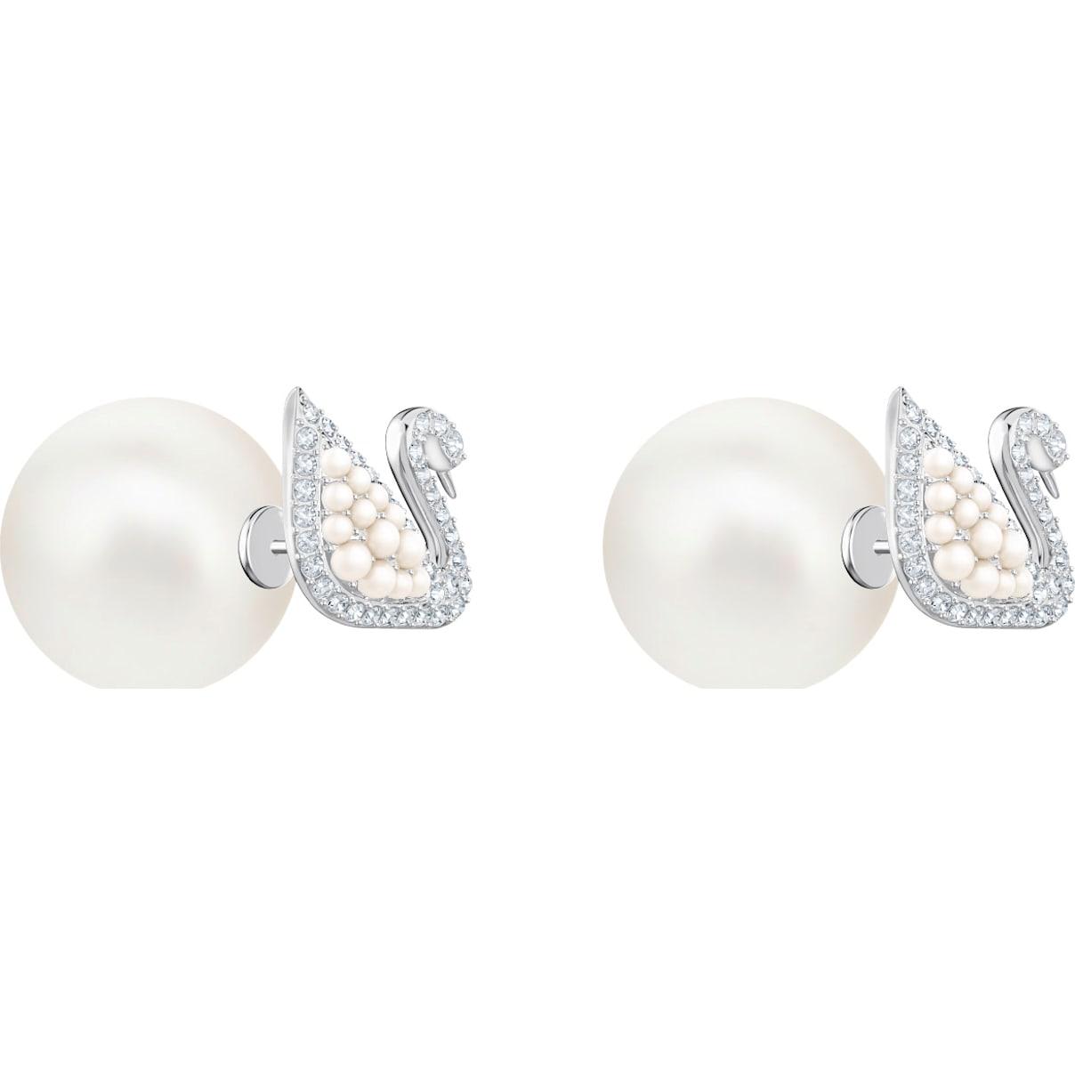 Swarovski Iconic Swan Stud Pierced Earrings, White, Rhodium plating