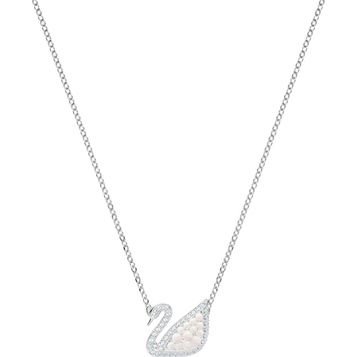 Swarovski Swarovski Iconic Swan Necklace, White, Rhodium plated