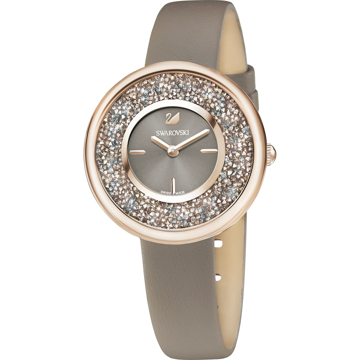 Swarovski Crystalline Pure Watch, Leather strap, Champagne-gold tone PVD