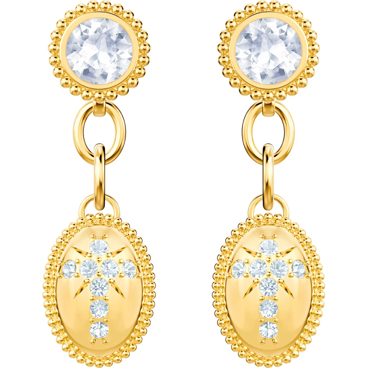 Swarovski Magnetic Pierced Earrings, White, Gold-tone plated
