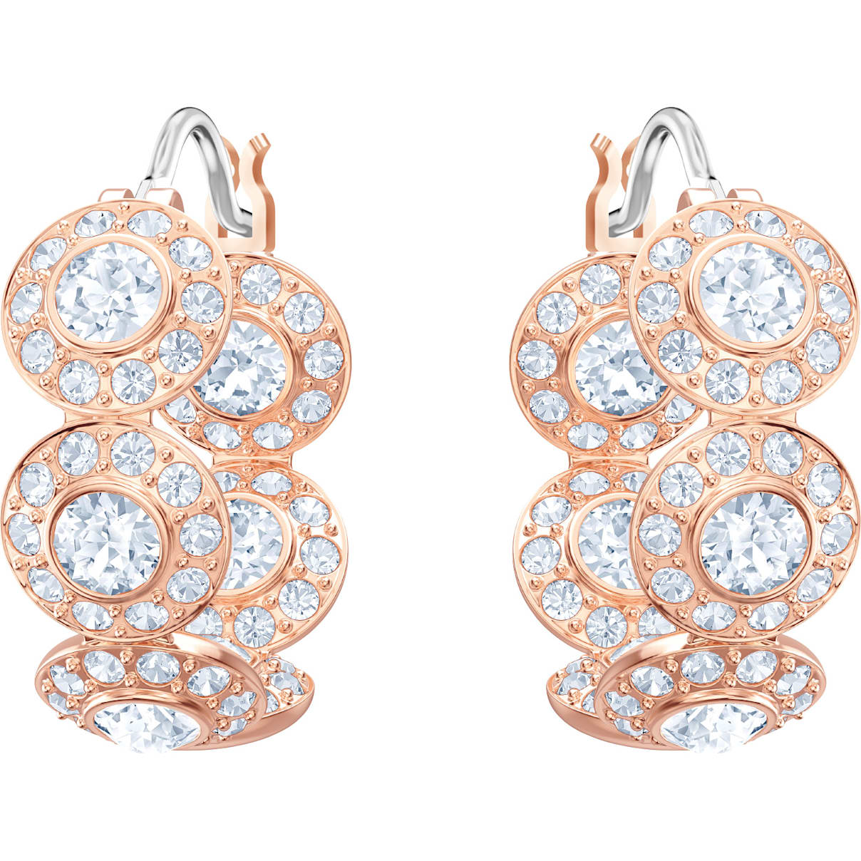 Swarovski Angelic Hoop Pierced Earrings, White, Rose-gold tone plated