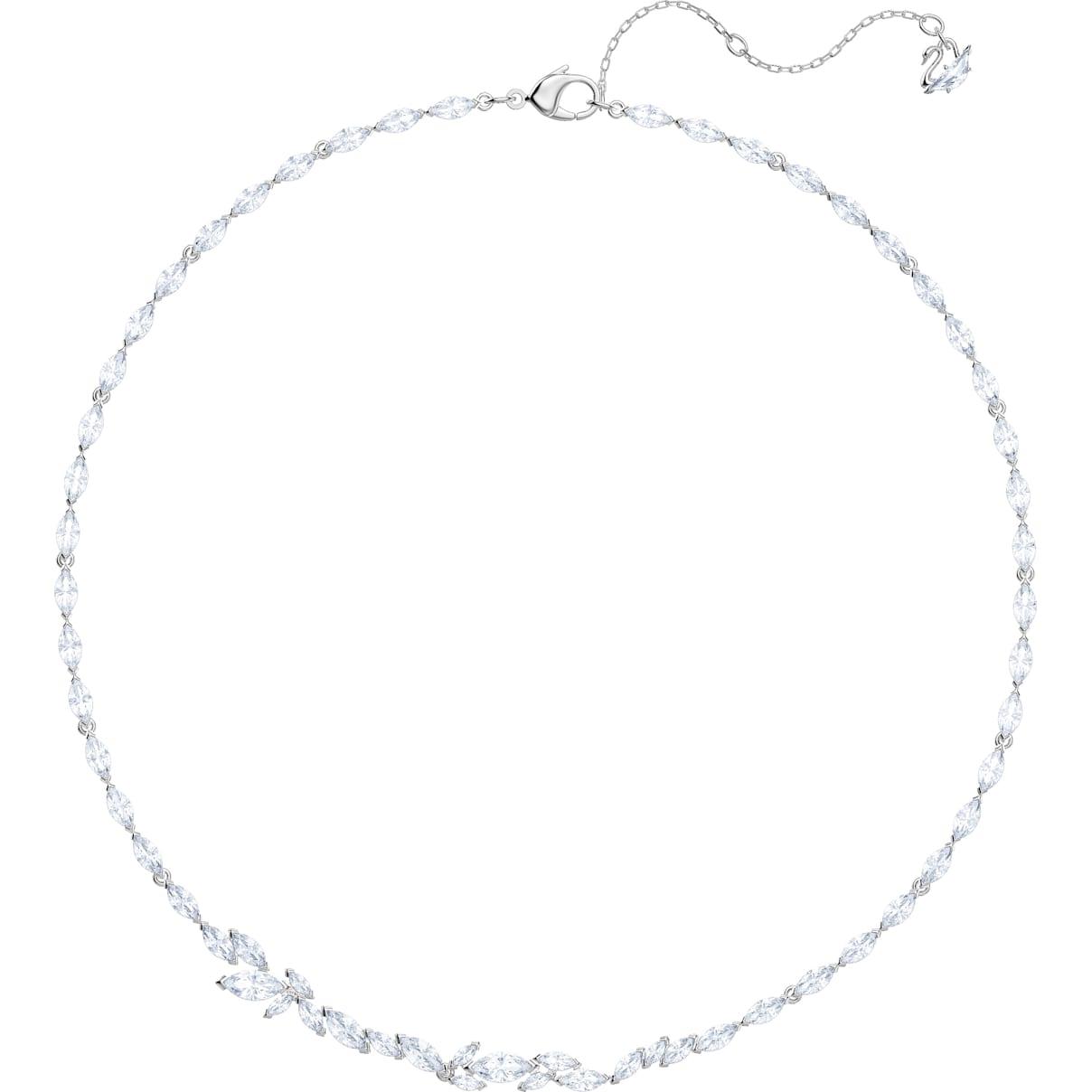 Swarovski Louison Necklace, White, Rhodium plated