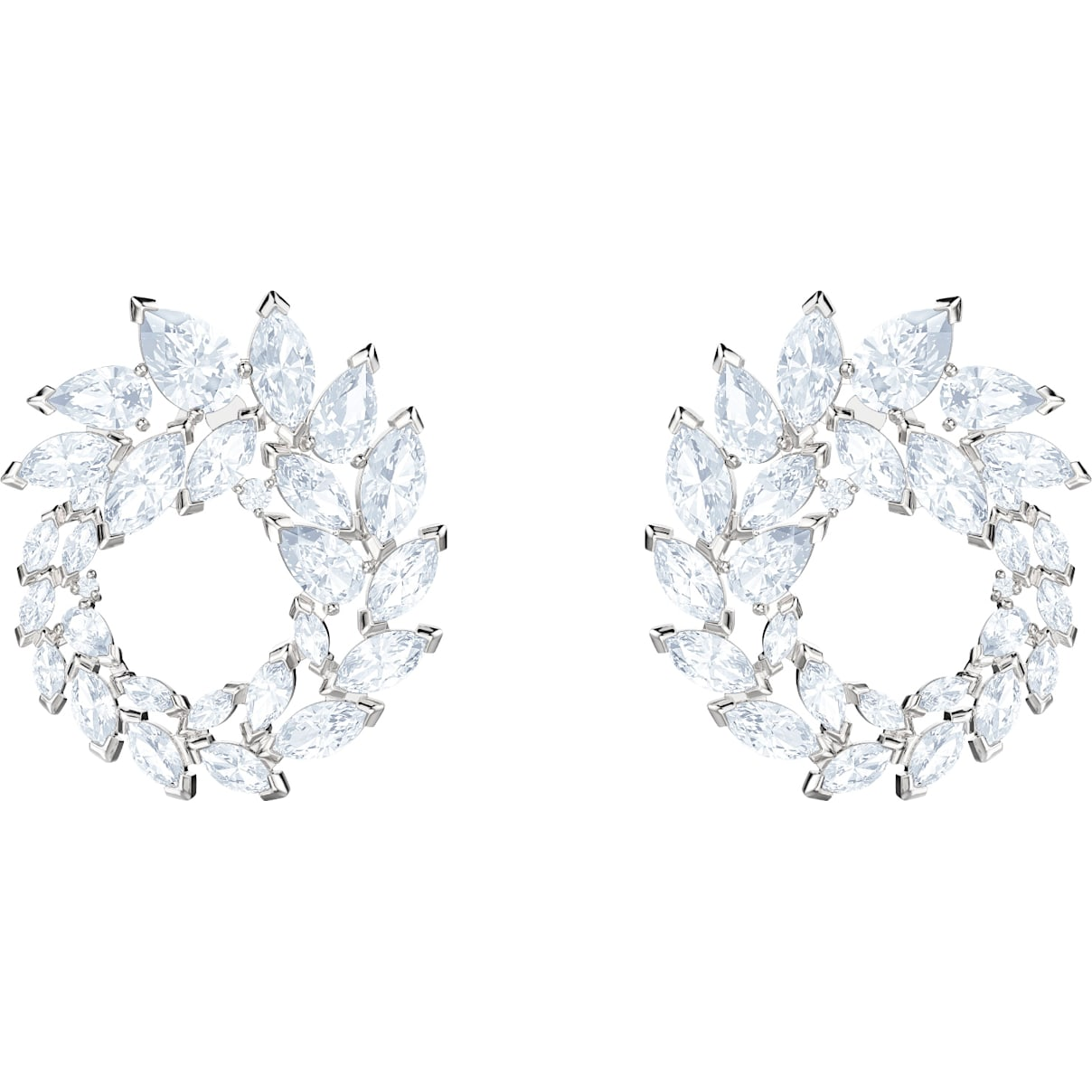 Swarovski Louison Earrings, White, Rhodium plated