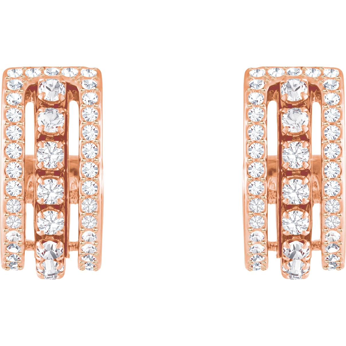 Swarovski Further Pierced Earrings, White, Rose-gold tone plated