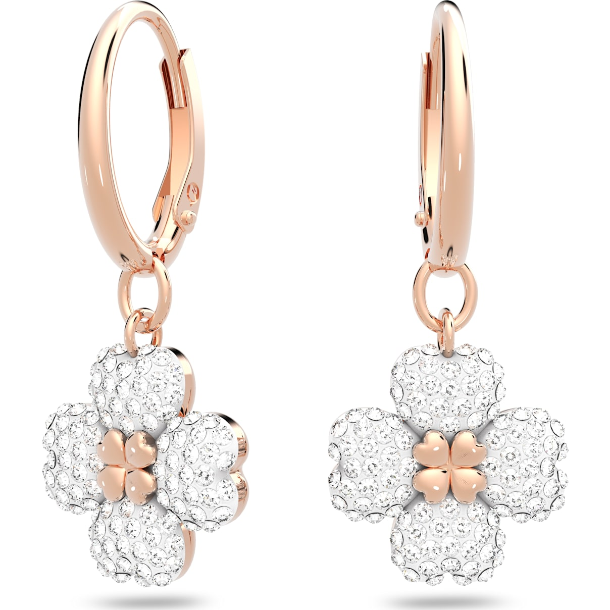 Swarovski Latisha Pierced Earrings, White, Rose-gold tone plated