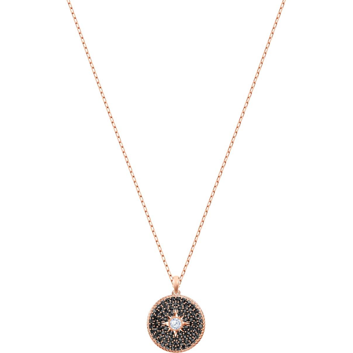 Swarovski Locket Pendant, Black, Rose-gold tone plated