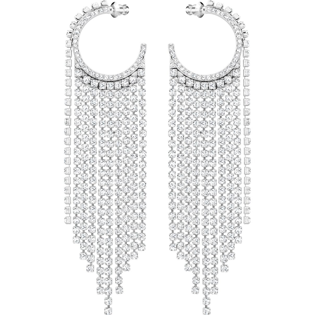 Swarovski Fit Hoop Pierced Earrings, White, Rhodium plated