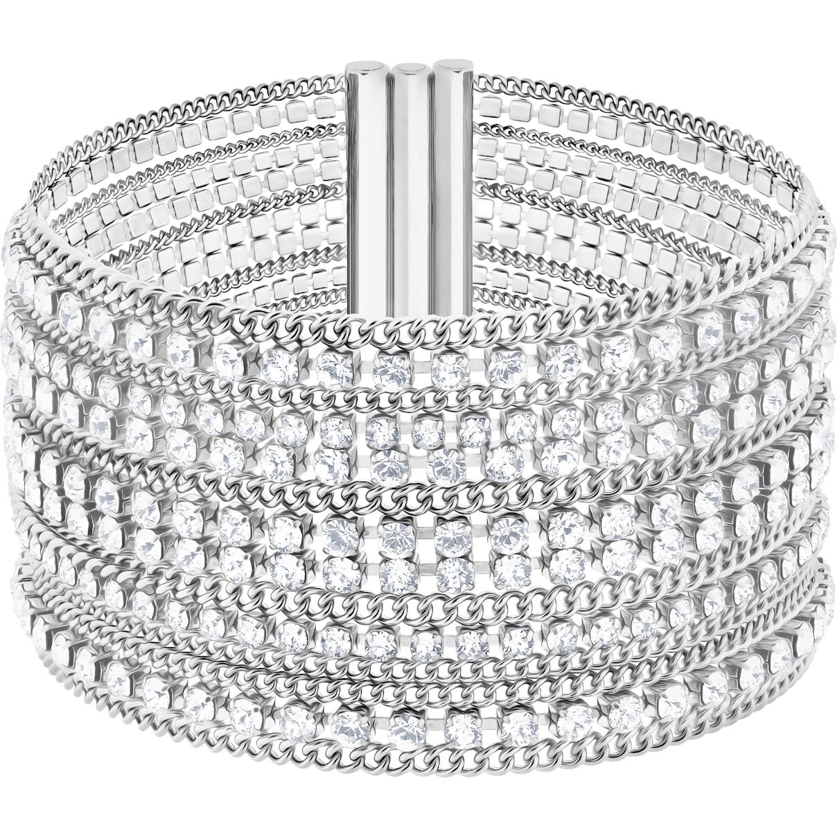 Swarovski Fit Bracelet, White, Stainless steel