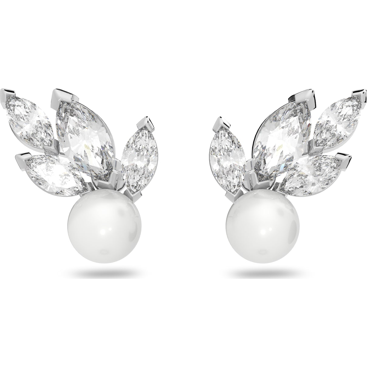Swarovski Louison Pearl Pierced Earrings, White, Rhodium plated
